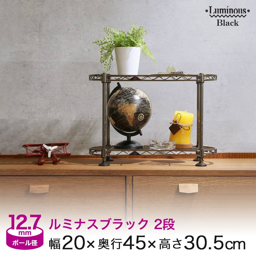 [12.7mm]幅20 2段 (幅20×奥行45×高さ30.5cm) ルミナスブラック ミニラック BN204530-2