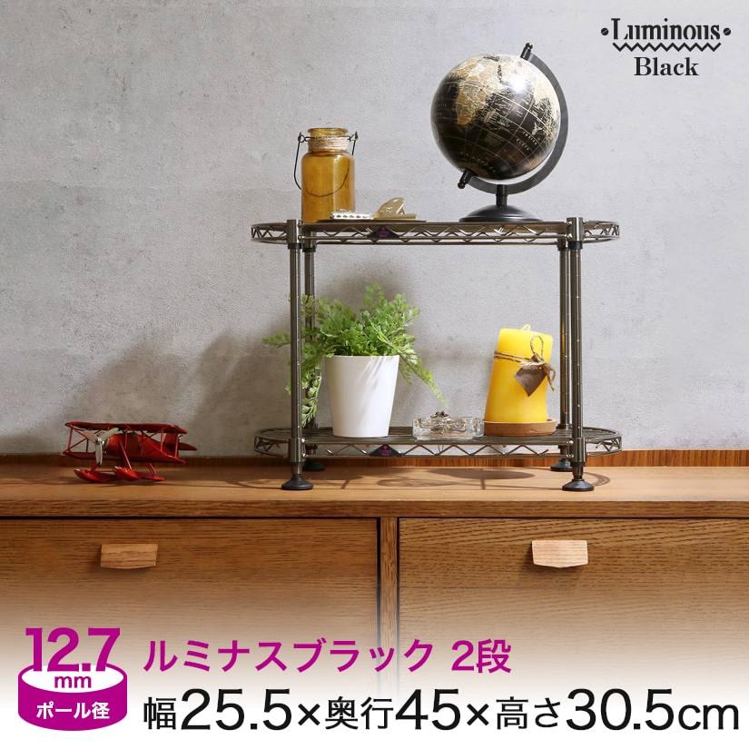 [12.7mm] ルミナスブラック 幅25 2段 (幅25.5×奥行45×高さ30.5cm) ミニラック BN254530-2