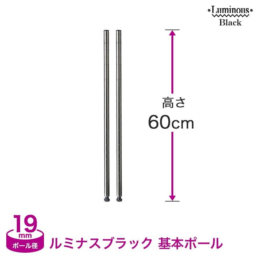 [19mm](高さ60cm) ルミナスブラック 基本ポール2本組 BNP19-060