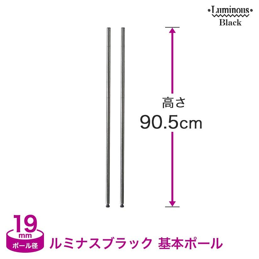 ※廃番※[19mm] (高さ90.5cm) ルミナスブラック 基本ポール2本組 BNP19-090