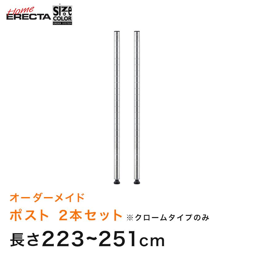 【受注生産】ホームエレクター サイズ&カラーオーダー ポスト 長さ223~251cm 1組(2本) クローム  HEOP-2L2230