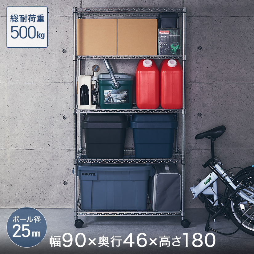 [25mm] ルミナスレギュラー 5段 幅90 奥行45 高さ180 (幅91.5×奥行46×高さ179.5cm)棚耐荷重250kgNLH9018-5