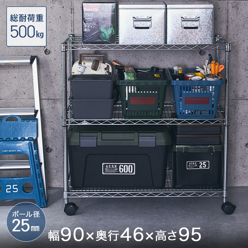 [25mm] ルミナスレギュラー3段 (幅91.5×奥行46×高さ95.5cm) 棚耐荷重250kg NLH9090-3