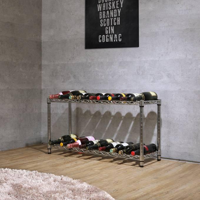 【送料無料!】当店オリジナル[25mm]幅90 2段(幅91.5×奥行30×高さ54.5cm) ワインホルダーラック 18本用 ワインセラー NTR9030-2W