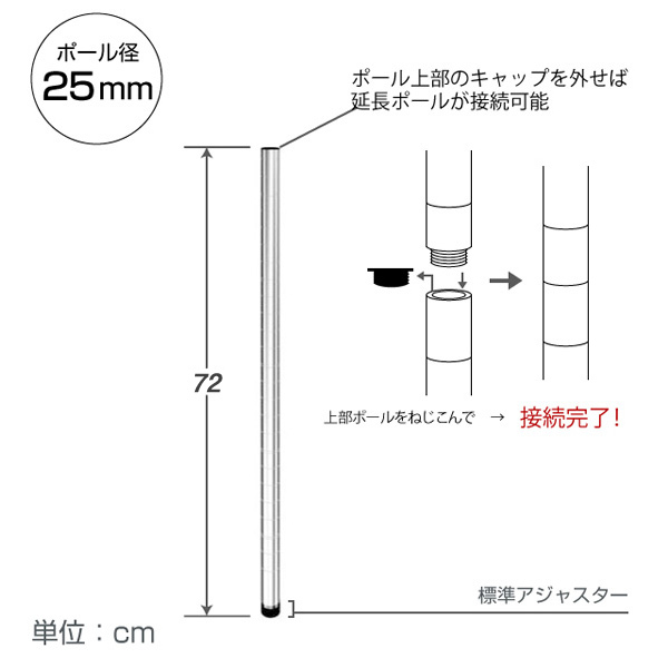 <span>支柱となるポール</span>スチールラックを組み立てるときの支柱。別売りの延長ポールを足せば延長もでき、カスタマイズ性が高く便利。