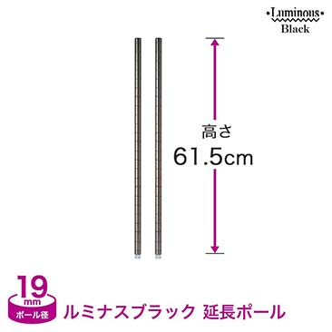 [19mm] ルミナスブラック ADD延長用ポール2本組 高さ61.5cm ADD-BN1960
