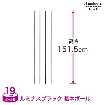 [19mm] ルミナスブラック 基本ポール4本組 高さ151.5cm BNP19-150-2