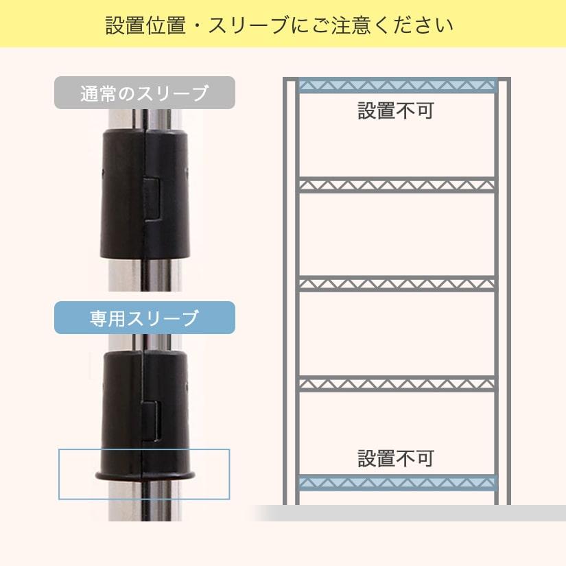 <span>後付けパーツは中間棚専用です</span>後付けパーツは中間棚専用の為、最上部・最下部への設置はできません。またスリーブが通常と異なりますので、専用スリーブをお使いください。