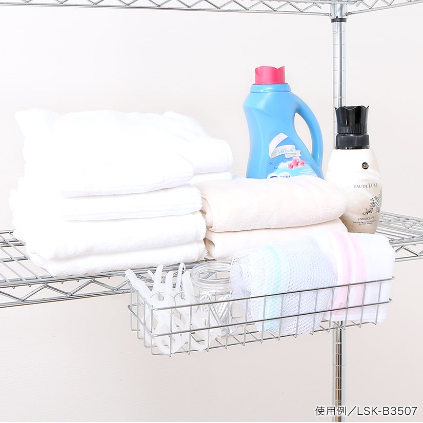 <span>ランドリーシーンでも大活躍</span>ランドリー用途として、ネットや洗濯バサミなどの収納にも便利。形の様々な日用品も気軽に取り出せるから、きれいに片付きます。