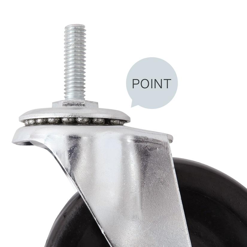 <span>スムーズな動きはベアリングがポイント</span>フレームの上下にべアリングが付いている為、静止時の上から掛かる負荷や、物を積んで動かす際の負荷にも負けず、スムーズな動きを実現。