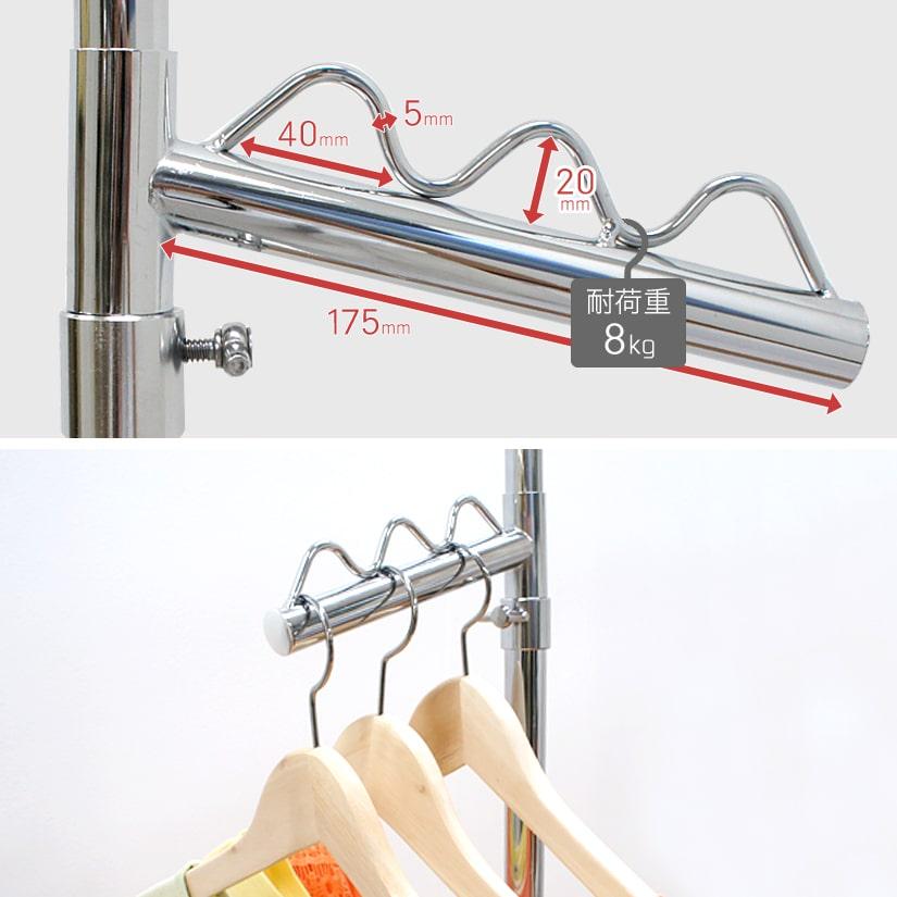 <span>360度回転の、斜めフック</span>360度回転が可能で、好きな向きにすることができる斜めフック。カバン類やハンガー、ベルト掛けなど多用途に使えます。