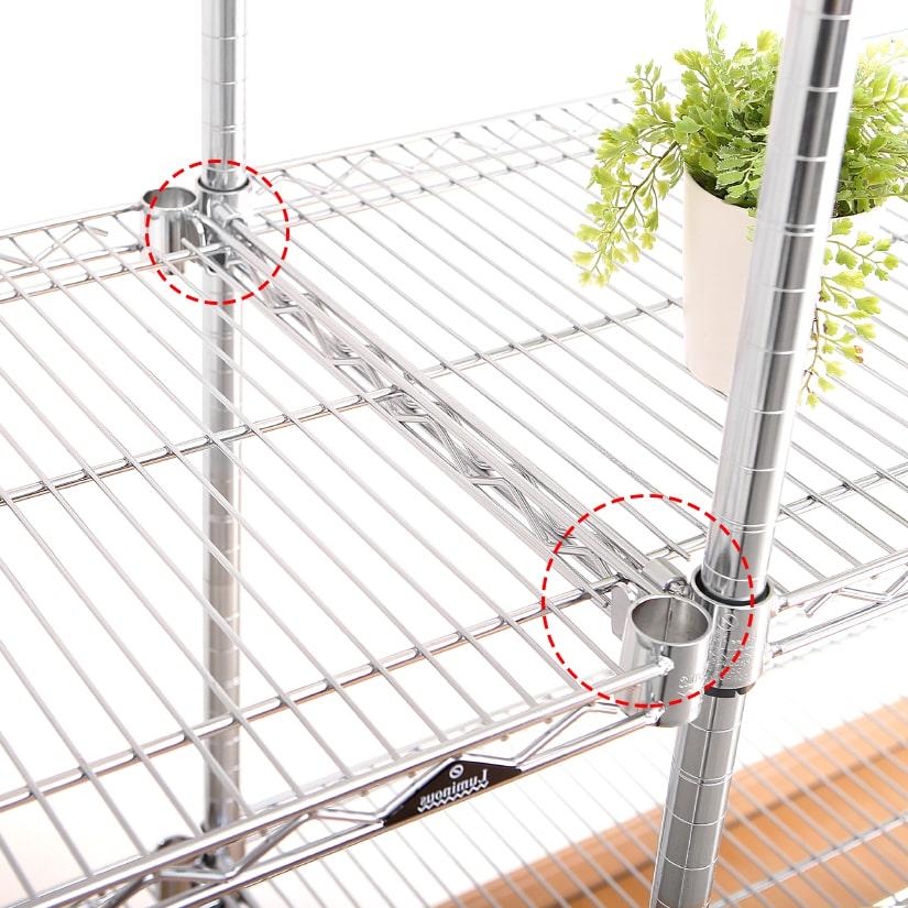<span>シェルフ同士を直接連結</span>ラックを隣接して並べたい場合に、シェルフ同士を直接連結させることができます。