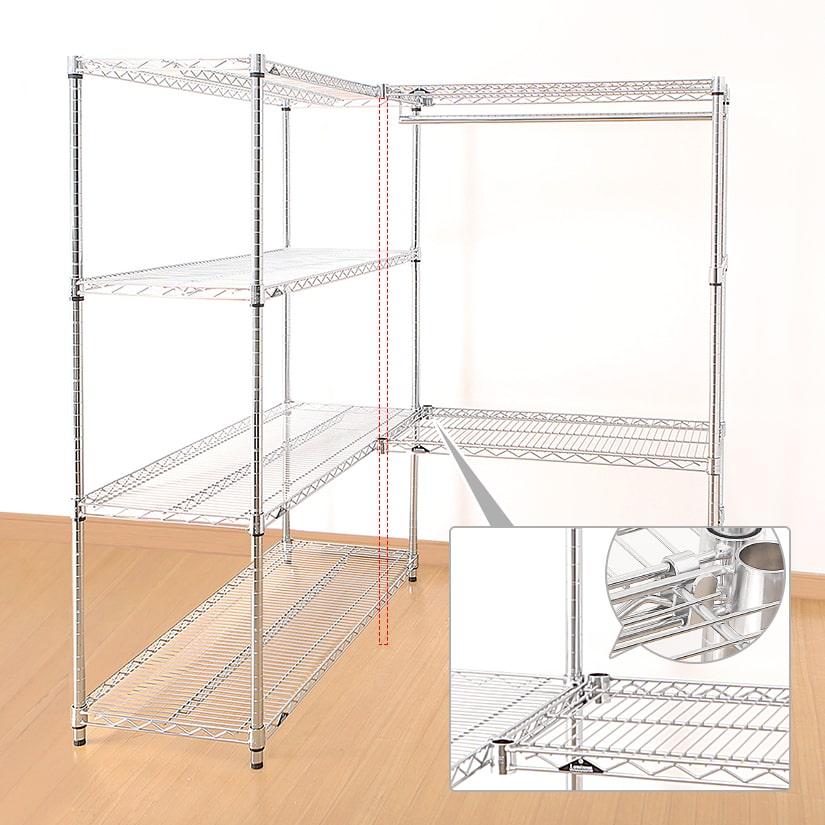 <span>N字の金具で、棚板同士を引っ掛けるように連結</span>極厚の鉄板を曲げて作られているから、引っ掛けるだけの簡単設置なのに、棚耐荷重は変わりません。