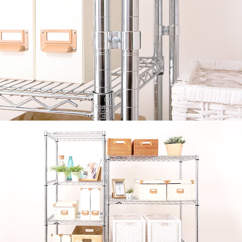 <span>ポール連結だから、棚の位置に関係なく連結可能!</span>同じ連結パーツの「棚連結コネクター」は隣り合うラックの棚位置が異なる場合は使用できませんが、こちらの商品は棚の位置を自由に変えられます。