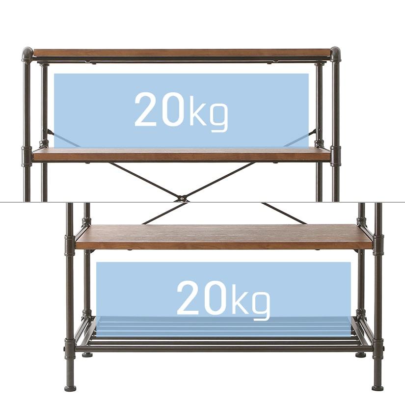 <span>安心の耐荷重</span>棚1枚あたりが耐えられる、棚耐荷重は20kg。見た目だけでなく、スペックも確保されています。
