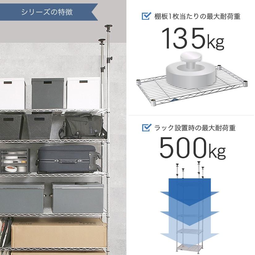 <span>耐荷重は業務用と家庭用の中間!</span>棚1枚あたり135㎏まで耐えられ、ラック全体の全耐荷重は最大500㎏。ご家庭やオフィスでのご利用に最適なスペックです。