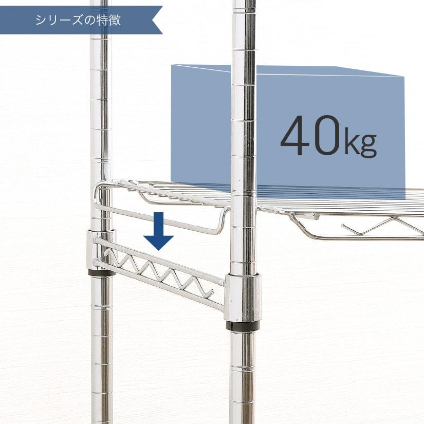 <span>置き棚タイプのシェルフ2枚付き</span>はめるだけのワンステップで後付け・取り外しが簡単な、「置き棚」が2枚セットに。こちらは棚耐荷重40kgです。
