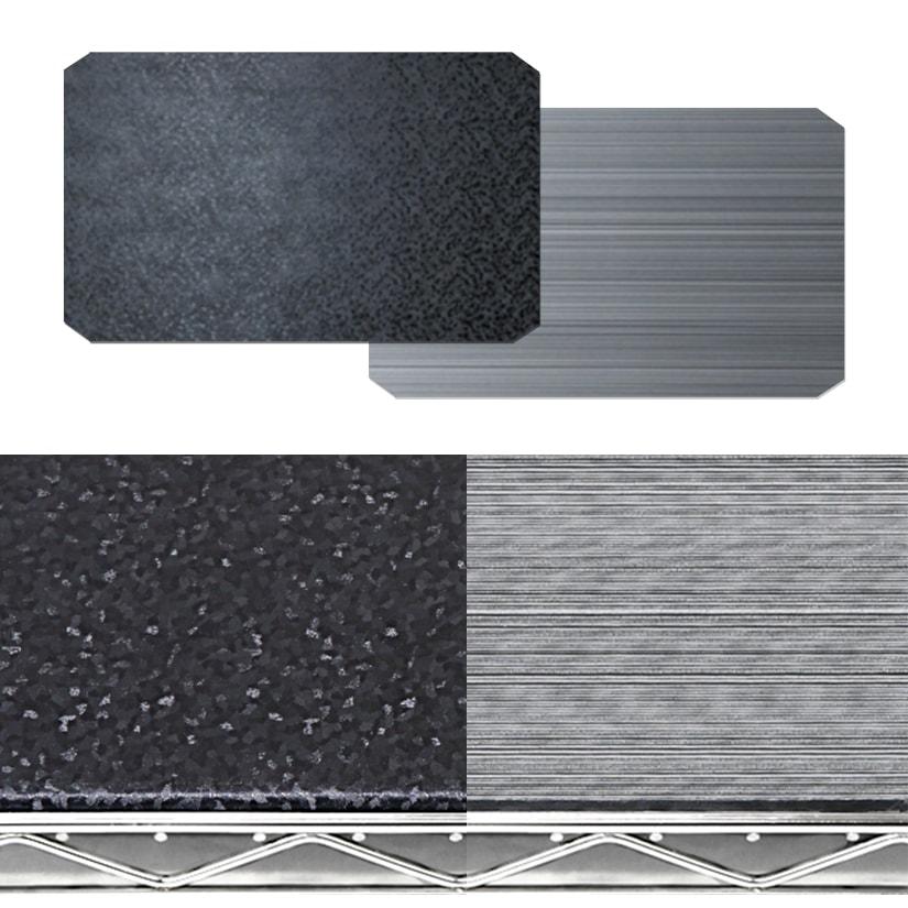<span>リバーシブルの「ブラック×メタル」</span>ひっくり返すだけで簡単に、お部屋のイメージチェンジが可能。2種類のカラーが楽しめ、スチールラックのメタルカラーと相性抜群!