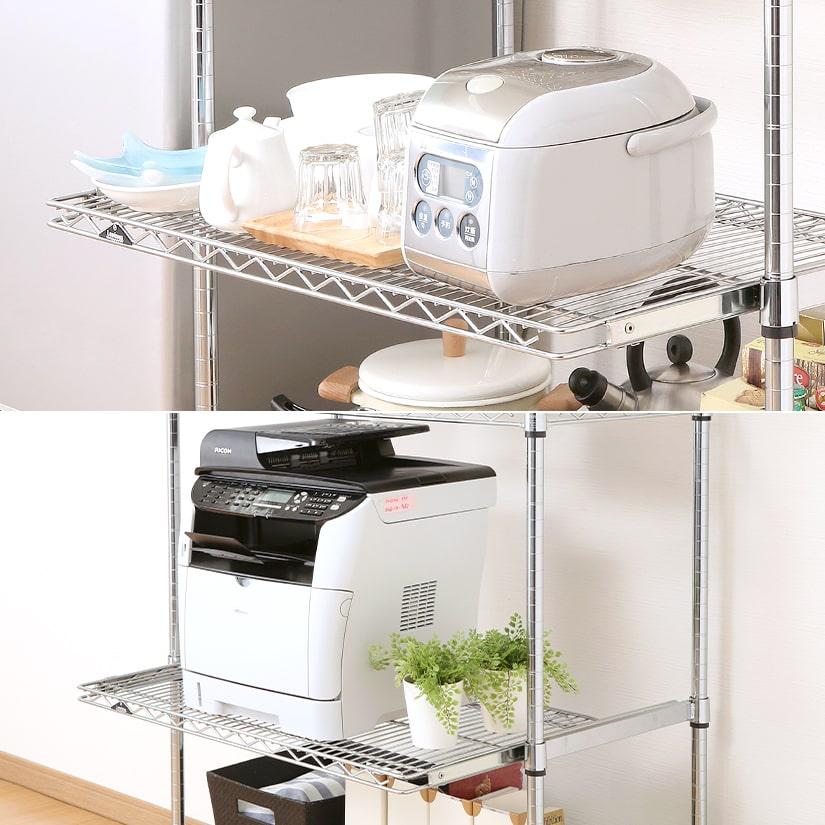 <span>耐荷重15kgで重たい物でも安心!</span>炊飯器やポット等のキッチン家電やプリンターを置いても、耐荷重15㎏だから心配は無用。ルミナスだから実現できるスペックです!
