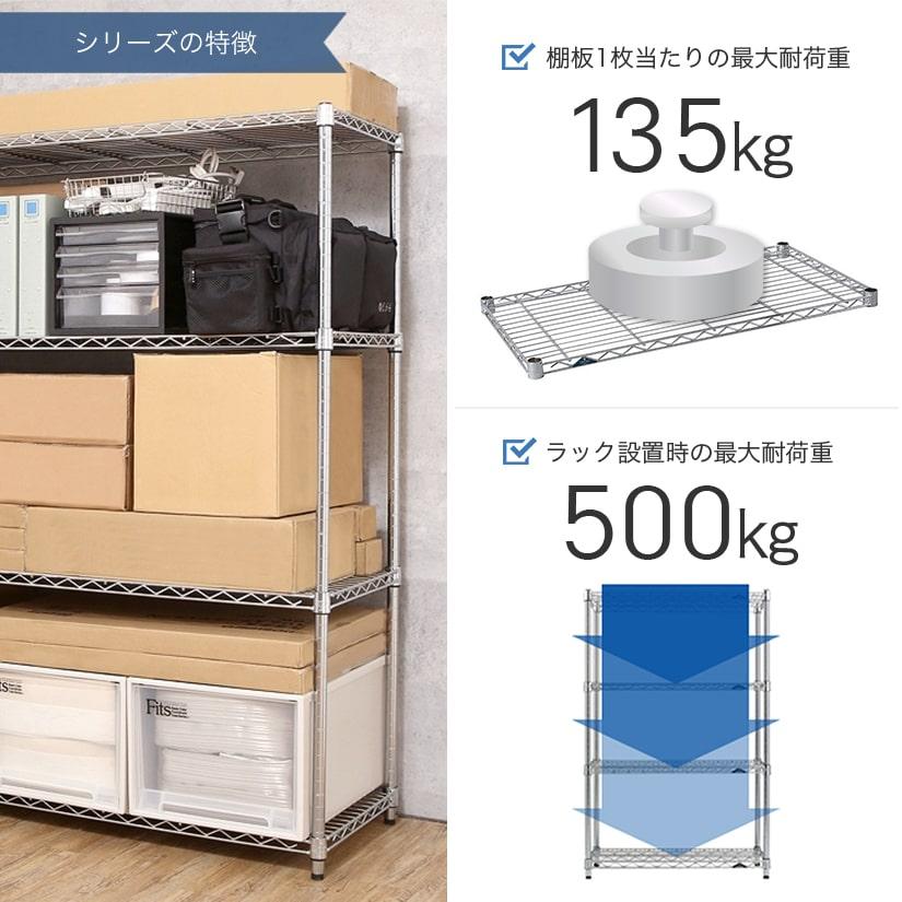 <span>業務用と家庭用のいいとこどり!</span>棚1枚あたり135㎏まで耐えられ、ラック全体の全耐荷重は最大500㎏。コストを抑えつつ、スペックも確保したシリーズです。