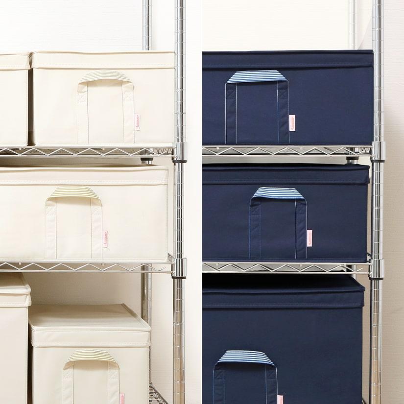 <span>アイボリーとネイビーの2色展開</span>カラーはお部屋の印象を優しく和らげるアイボリーと、スタイリッシュでクールな印象を与えるネイビーの2色をご用意。