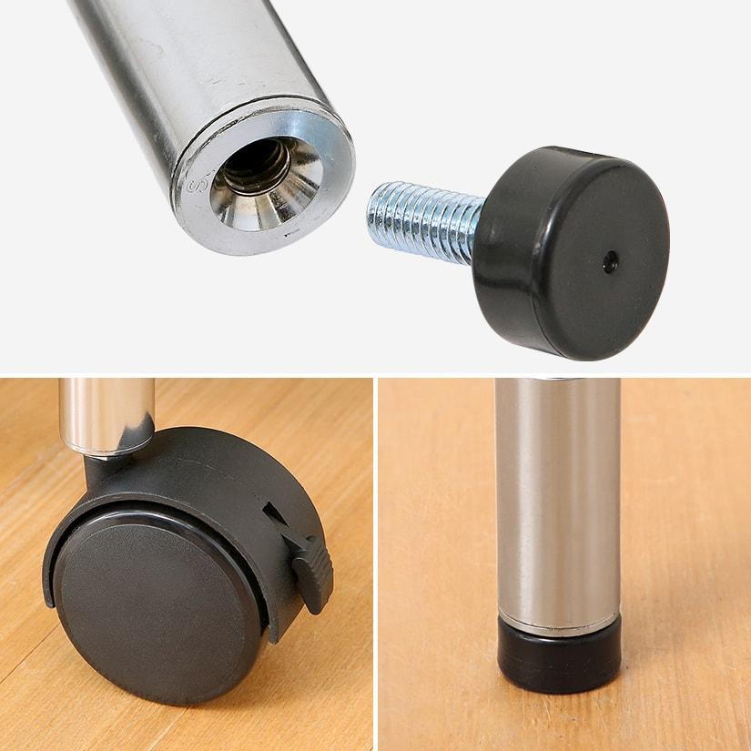 <span>アジャスターとキャスターが付属で付け替え可能!</span>高さ調整(約1cm)可能なアジャスターが最初から付属。キャスターもセットになっており、お好きに付け替えしていただけます。4個中2個にロック機能が付いているから、動かさないときはワンタッチでロックも可能。付け替えもネジ式なので簡単です!