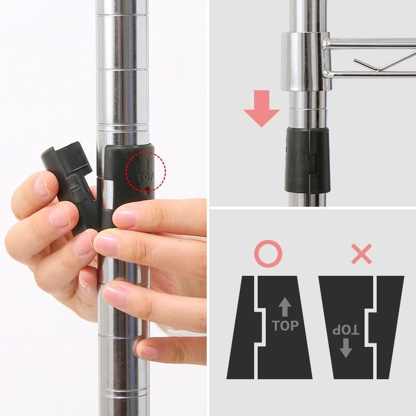 """<span>ご安心下さい!固定部分はプラスチックとは思えないがっちり感</span>「シェルフを固定する""""スリーブ""""がプラスチック製だけど大丈夫…?」ご安心ください!スリーブには上下があり、傾斜がある為棚板にかかる重量の分だけスリーブが締まり、がっちり固定される仕組みになっています。固定の際、隙間が空くことで、締まる余裕が生まれる仕組みになっています。"""