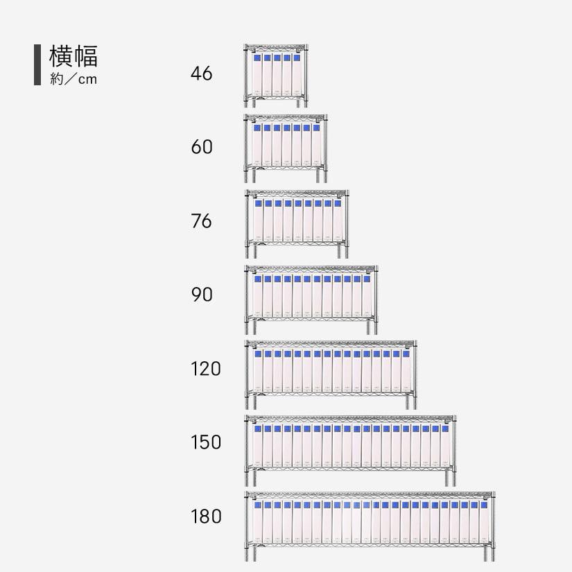 <span>この商品は、横幅76タイプです</span>ルミナススチールラックの定番横幅タイプに、事務用ファイル(厚さ7cm)を入れて比較してみました!横幅46タイプの場合5冊、横幅180タイプの場合24冊入るという結果に。ぜひご参考にしてください。