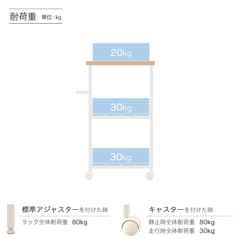 <span>木製天板付きの隙間ワゴン</span>木製天板付き、スリムサイズのワゴン。キッチンのデッドスペースとなっている少しの隙間に使える、便利なキッチンラック。